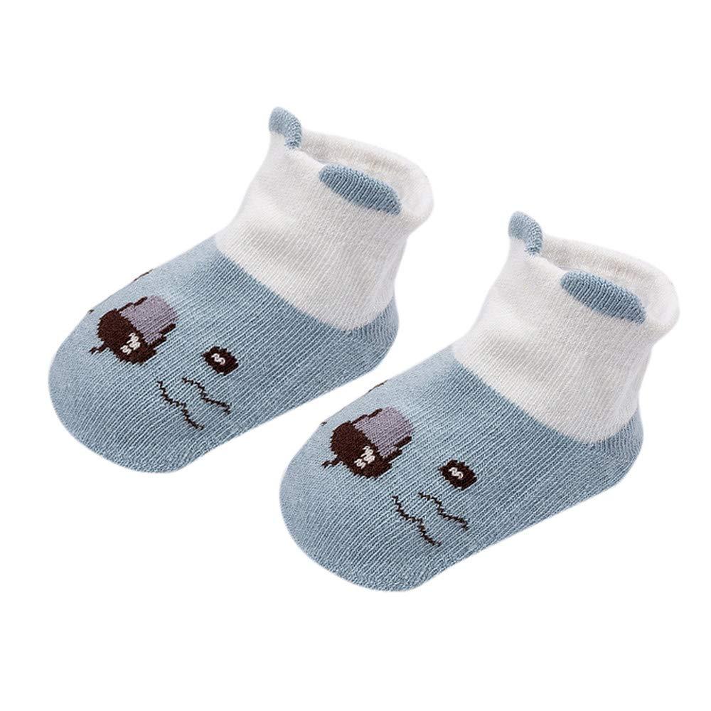FEITONG Kids Infant Toddler Baby Boys Girls Cartoon Animals Anti-Slip Knitted Warm Socks(0-2T,Blue)