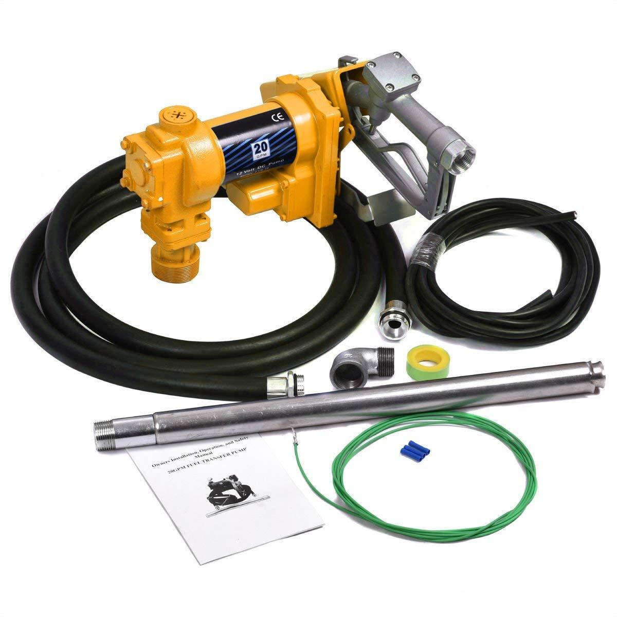 JAXPETY Gasoline Fuel Transfer Pump 12 Volt DC 20GPM Gas Diesel Kerosene Nozzle Kit by JAXPETY