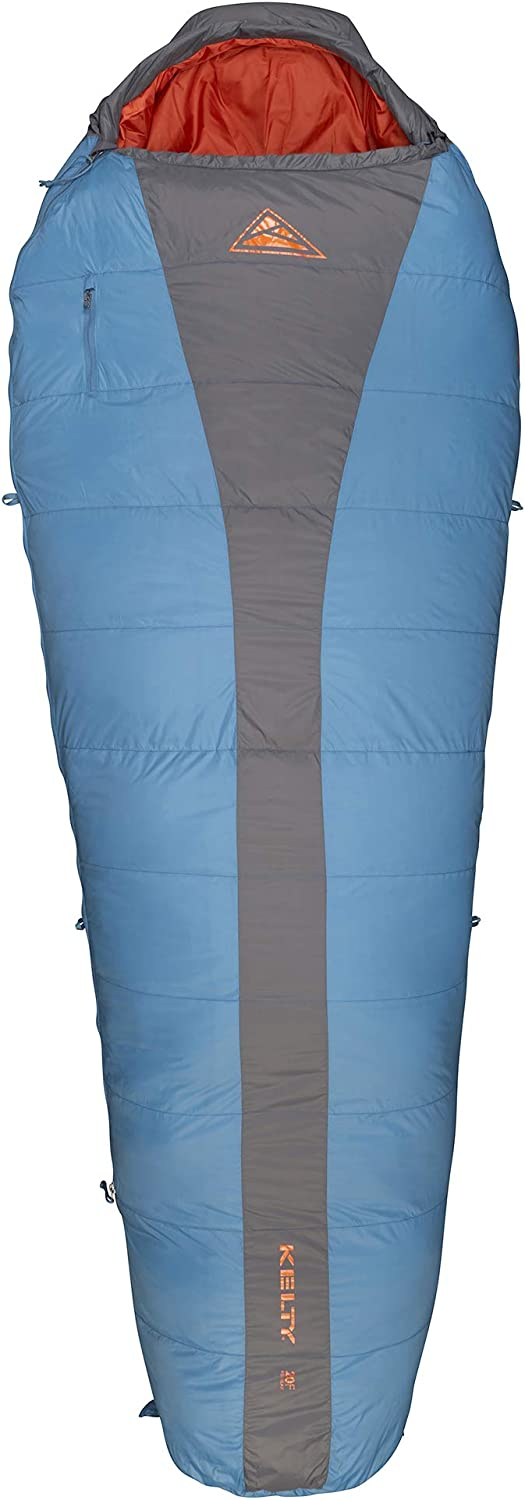 This is an image of a Kelty Cosmic 20 sleeping bag in blue and gray color, with orange-color insides.