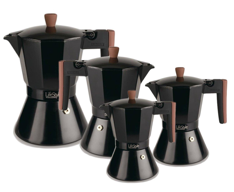 Life Style - Cafetera Express Buon Caffe Estilo Italiano - Aluminio Grafito - 3 Tazas