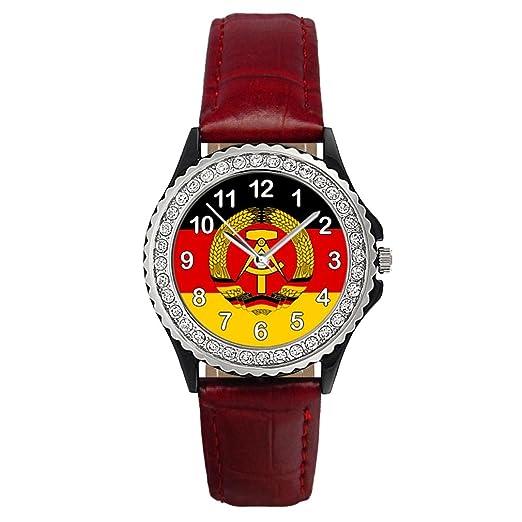 Timest - República Democrática Alemana Reloj del cuero rojo para mujer con piedrecillas Analógico Cuarzo CSG0082r: Amazon.es: Relojes