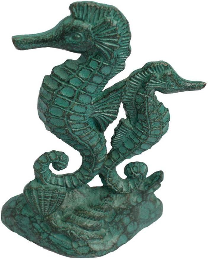 XuZeLii Tope De Puerta Antiguo Hierro Fundido Doble Hippocampus Tope De La Puerta De Su Dormitorio Decorativo Rústico Apto para Sala De Estar (Color : Green, Size : 12.2x6.5x17.2cm)
