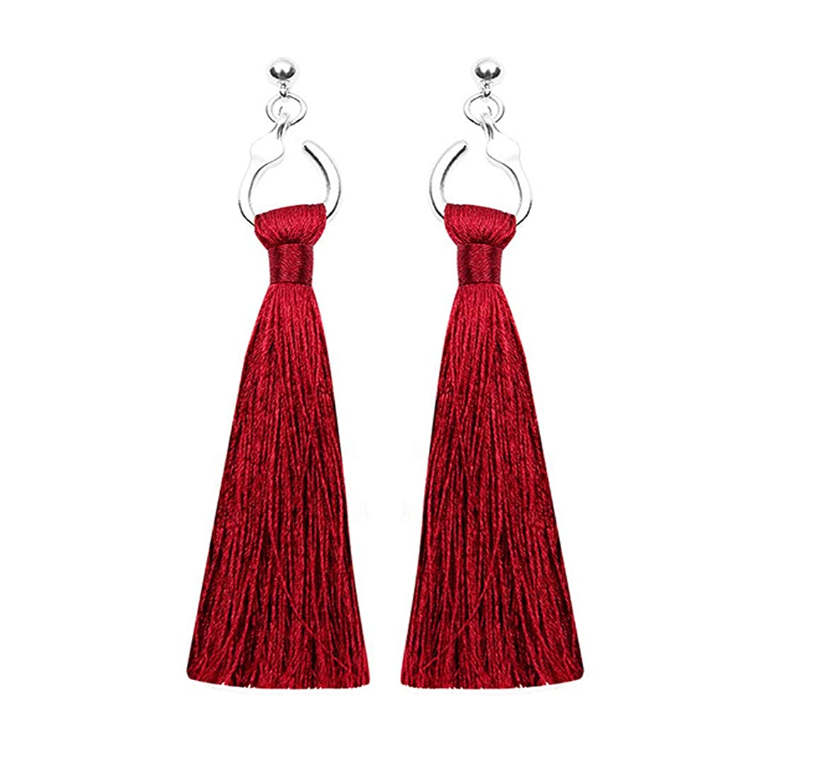 PAMTIER Elegant Handmade Long Tassel Dangle Earrings Fringe Drop for Women Girls