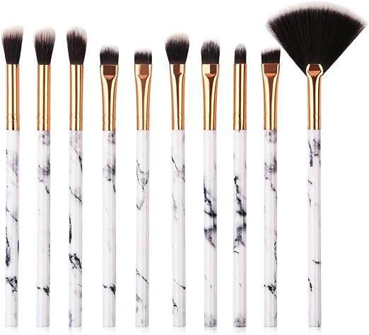 Lymocha Cepillo de Sombra de Ojos, brochas de Maquillaje Profesional y Kit de Maquillaje con Set de Mujers brochas (10 Piezas Blanco): Amazon.es: Hogar