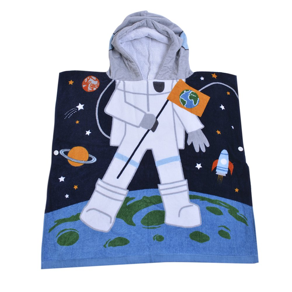 32 Yarns Long-staple Cotton Kids Hooded Poncho Towel, Astronaut Space Cute Cartoon Beach Pool Bath Towel for Boys Black Blue Gray