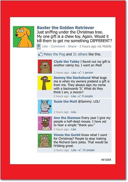 Amazon b1521 box set of 12 dog facebook hilarious christmas b1521 box set of 12 dog facebook hilarious christmas greeting cards with envelopes m4hsunfo