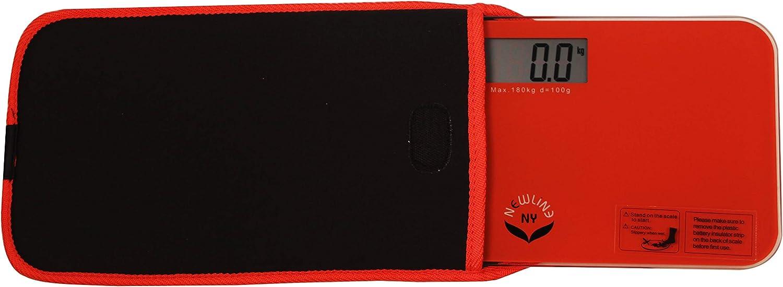 NewlineNY Mini Bathroom Scale, White, Black, Green, red, Trendy Waves + Travel Slip Case… (Off White) Red Orange