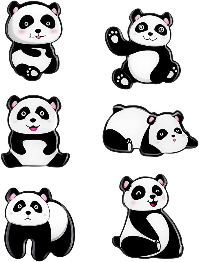 Panda Refrigerator Magnets Cute Magnets 3D Pattern (6 Pack) for Kitchen Office Supplies Student Locker Menu Message Board Whiteboard Holiday Gifts