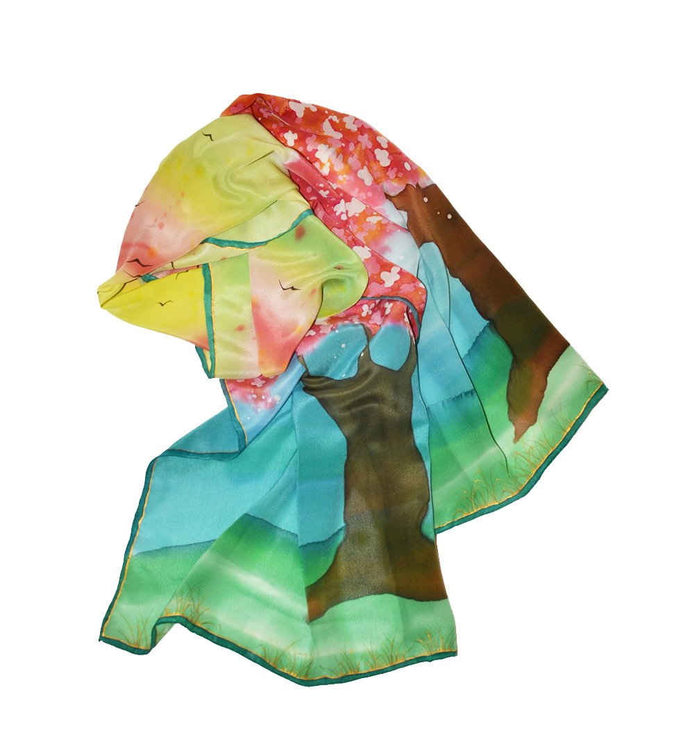 Elegant Silk Scarf Hand Painted Colorful Handmade Shawl For Women Gift For Mom