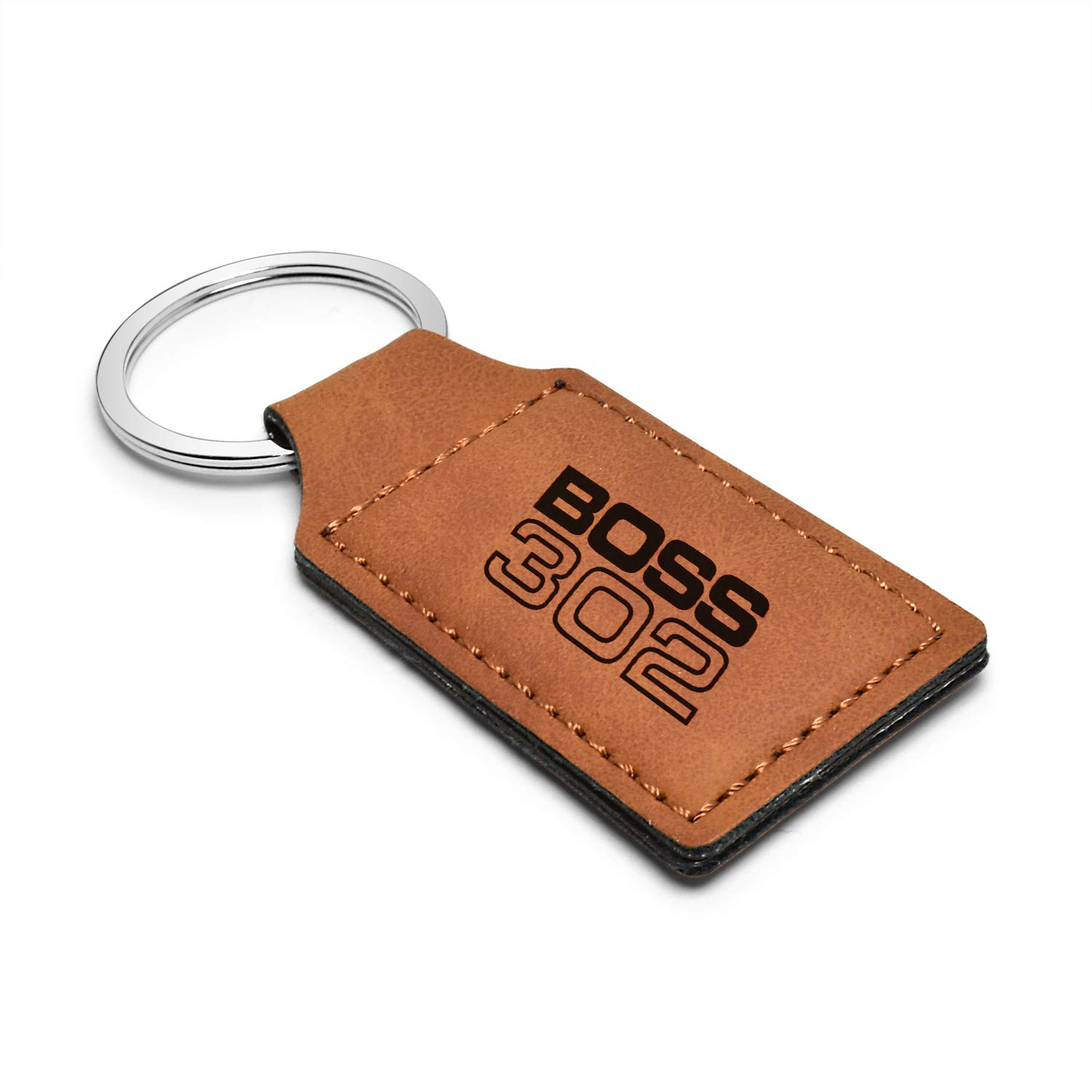 Mustang Boss 302 iPick Image Ford Rectangular Brown Leather Key Chain
