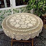 YIZUNNU Beige Diameter 86''Round Handmade Crochet Flower Lace Table Cloth Doily