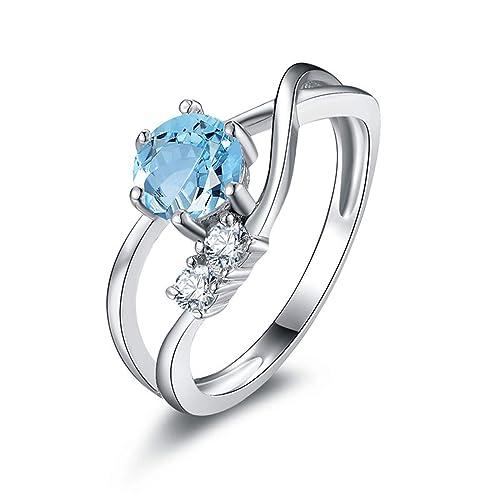 Blisfille Joyas Anillos de Compromiso Grabado Anillo de Round Anillos Oro y Diamantes Anillo de Plata de Ley 925,Azul del Tamaño 6,75-25: Amazon.es: Joyería