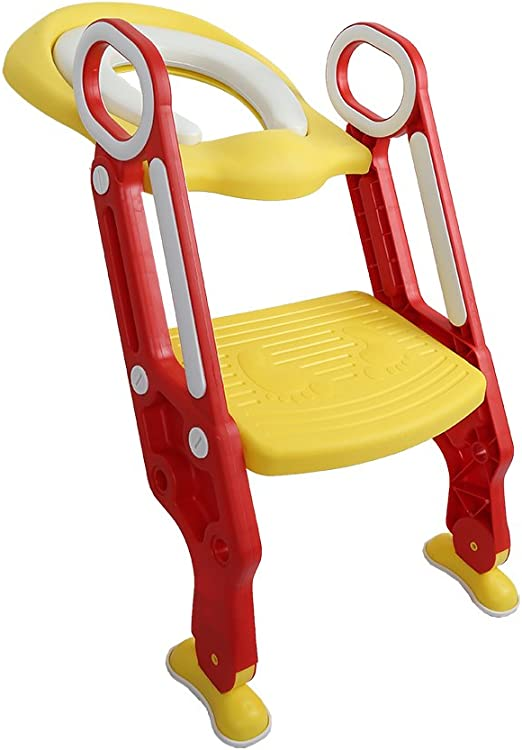 L&LQ Asiento De Inodoro para Bebés Toilettes para Niños con Escalera Ajustable Asiento para Inodoro Plegable Asiento De Inodoro Plegable para Niños Asiento para Niños,Red: Amazon.es: Hogar