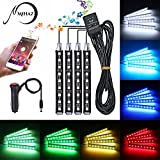 car lights for inside - Underdash Lighting Kit, Mihaz Led Car Interior light in Car 4pcs Multi Color with Sound Active Bluetooth Atmosphere Lights 48 Leds Footwell Light Inside Car by APP Remote Control IOS Android