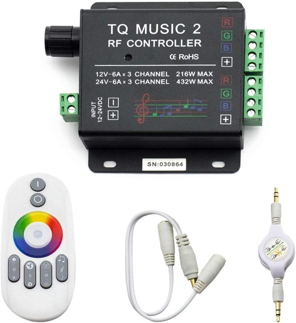 SUPERNIGHT LED RGB Music Touch Controller RF Sensitivety Backlight RF Remote Touching Color 3.5MM Audio 15 Music Modes LED Light Strip Controller