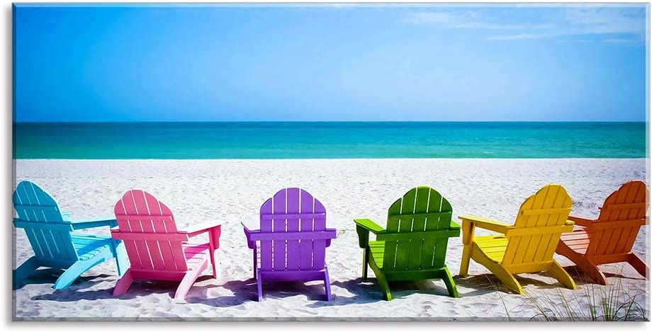 Beach Canvas Wall Art for Living Room, PIY Blue Sea with Colorful Chairs Picture Prints Decor, Relax Leisure Time Home Decorations (Waterproof, Bracket Mounted Ready Hanging, 24x48 Large)