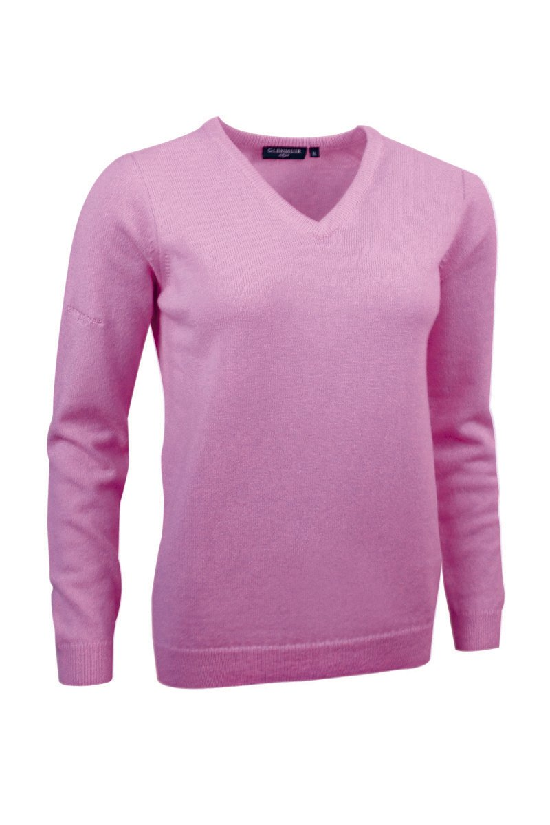 Glenmuir Ladies LKL2542VN V Neck Lambswool Golf Sweater Rose L by Glenmuir