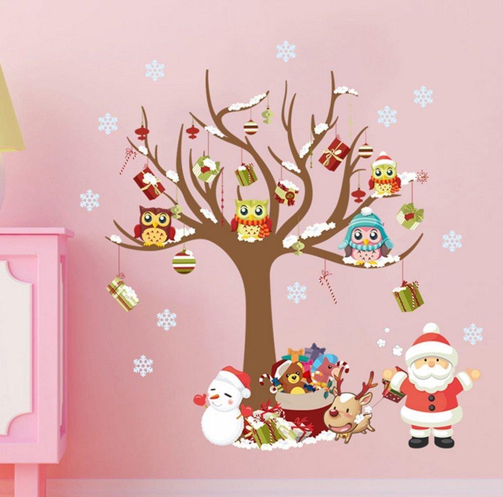 Extsud Adesivi Murales Natale Carta da Parete Babbo Natale Albero Regali Wall Stickers Festa Merry Christmas Decorazione Natalizia per Casa Camerette Salotto Fai Da Te