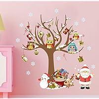 Extsud Natale Vetrofanie Set Adesivi Murali Stelle Nevi Puntini Merry Christmas DIY Stickers da Vetro Finestra Vetrina Decorazione Natalizia Casa Fai da Te