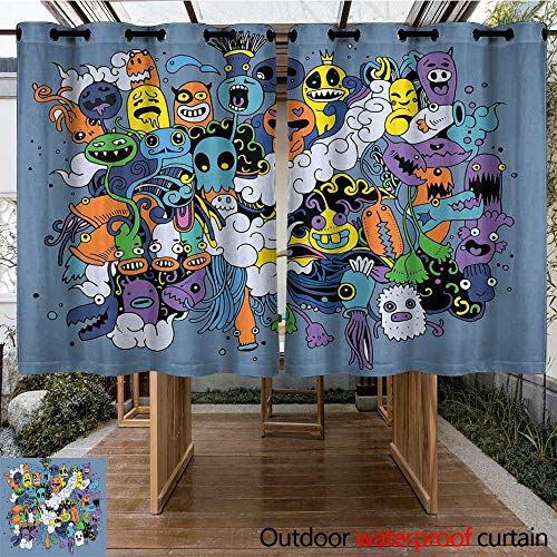 (Onefzc Custom Outdoor Curtain Indie Group of Funky Monsters Society Different Expressions Abstract Groovy Doodle Style Room Darkening, Noise Reducing 72