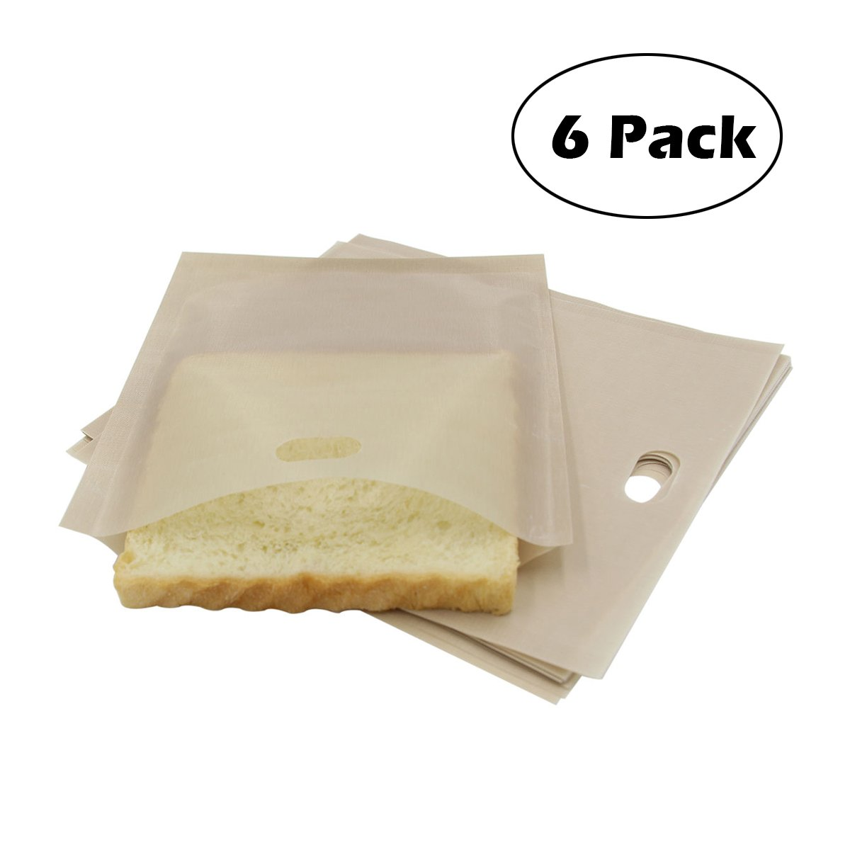 Grilled Cheese Toaster Bags Reusable Non Stick School Snack Bag for Grilling Pizza Sandwiches (Pack of 6) Fun.U Technology Co. Ltd