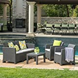 Cheap Great Deal Furniture Jacob Outdoor 4 Piece Charcoal Faux Wicker Rattan Style Chat Set with Light Grey Water Resistant Cushions