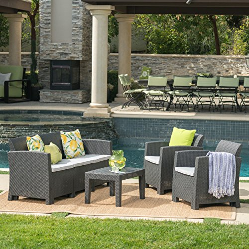 Great Deal Furniture Jacob Outdoor 4 Piece Charcoal Faux Wicker Rattan Style Chat Set with Light Grey Water Resistant Cushions -