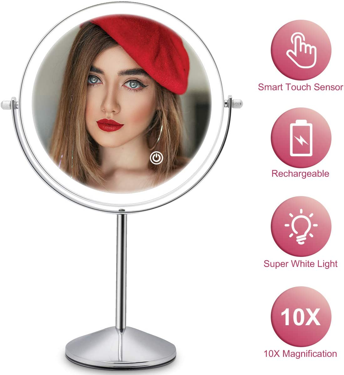 Makeup Vanity Mirror with LED Lights, 8 Inch Rechargeable Double Sided 10X Magnification, 3 Color Lighting, Dimmable Cosmetic Mirror with Touch Control 360 Rotation Light up Mirror Cord or Cordless