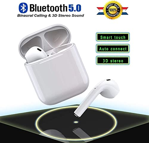 Bluetooth 5.0 Wireless Earbuds Headsets Bluetooth Headphones 24Hrs Charging Case 3D Stereo IPX5 Waterproof Pop-ups Auto Pairing Fast Charging for Earphone Samsung Apple Android Sport Earbuds