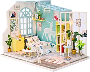 Spilay DIY Miniature Dollhouse Wooden Furniture Kit,Handmade Mini Modern Model Plus with Dust Cover,1:24 Scale Creative Doll House Toys for Children Lover Gift (Family Nap)