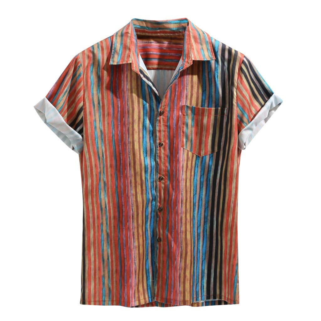 TEVEQ Men's Colorful Stripe Summer Short Sleeve Loose Buttons Casual Shirt Blouse Red by TEVEQ-shirt