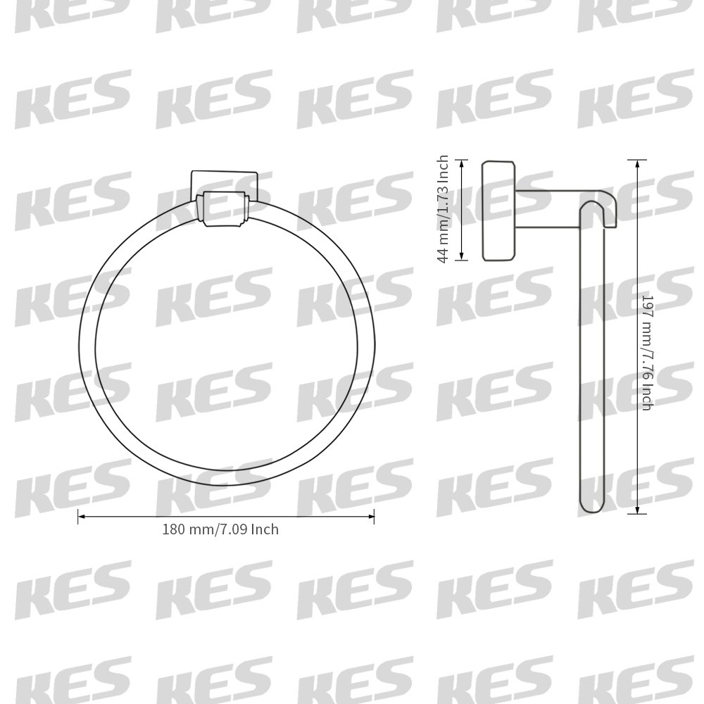 KES Towel Ring, Towel Holder for Bathroom SUS 304 Stainless Steel Wall Mount, Brushed, A2280-2 KES Home CECOMINOD006285