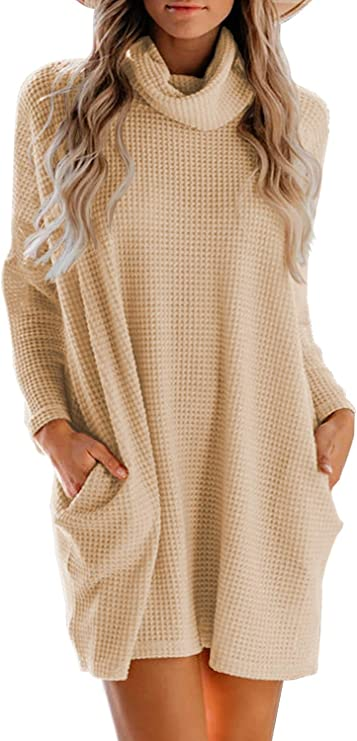 MIHOLL Women's Long Sleeve Cowl Neck Casual Loose Oversized Knit Pullover Sweater Dress