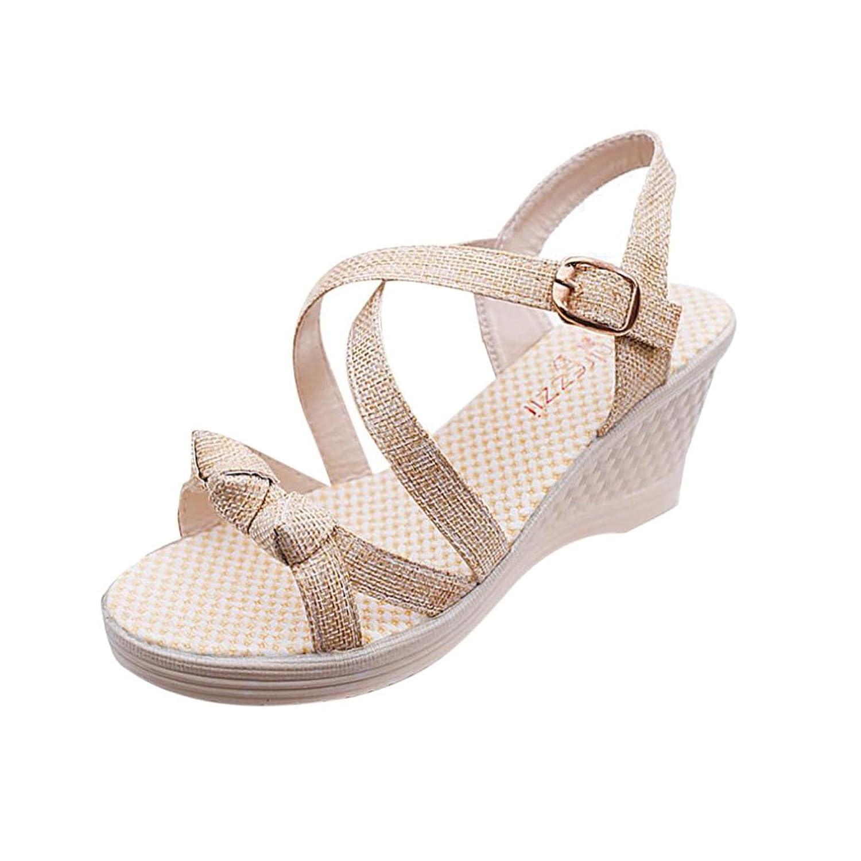 Summer Sandals Inkach Women Summer Sandals Casual Peep Toe Platform Wedges Sandals