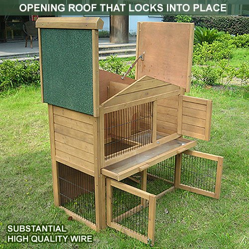 2 Tier Rabbit Hutch & Run Guinea Pig House Cage