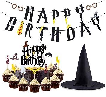 LUCK COLLECTION Mago Decoraciones de cumpleaños Feliz cumpleaños Banner Cupcake Toppers Mago Hat Cake Topper para Decoraciones de cumpleaños