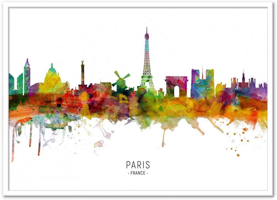 Wall Editions Art Poster Paris France Skyline Colored Version Michael Tompsett Amazon Co Uk Kitchen Home