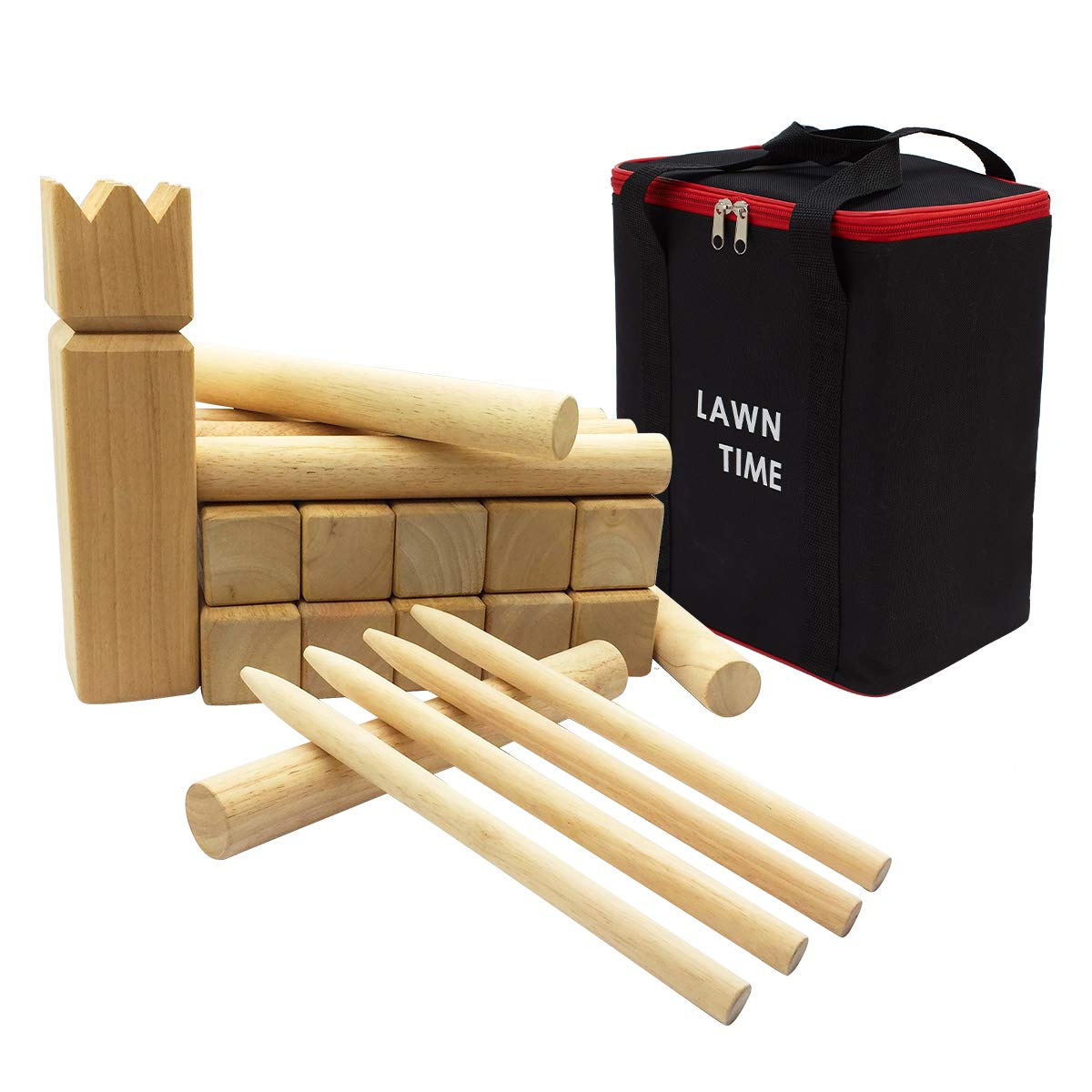 LAWN TIME Kubb Game Set - Rubberwood Viking Chess Outdoor Game - Kubb Viking Lawn Game with Carry Bag by LAWN TIME