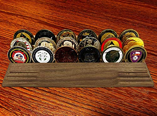 Display Row Coin (3 Rows Military Coin Holder Display Challenge Coin Display Stand for Office Decor Bottom Silicone Anti-Slip Pad ( Solid Walnut ))