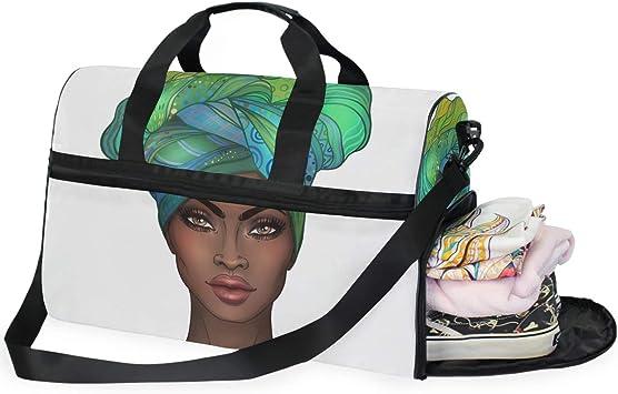 Travel Duffels African Girl Duffle Bag Luggage Sports Gym for Women /& Men