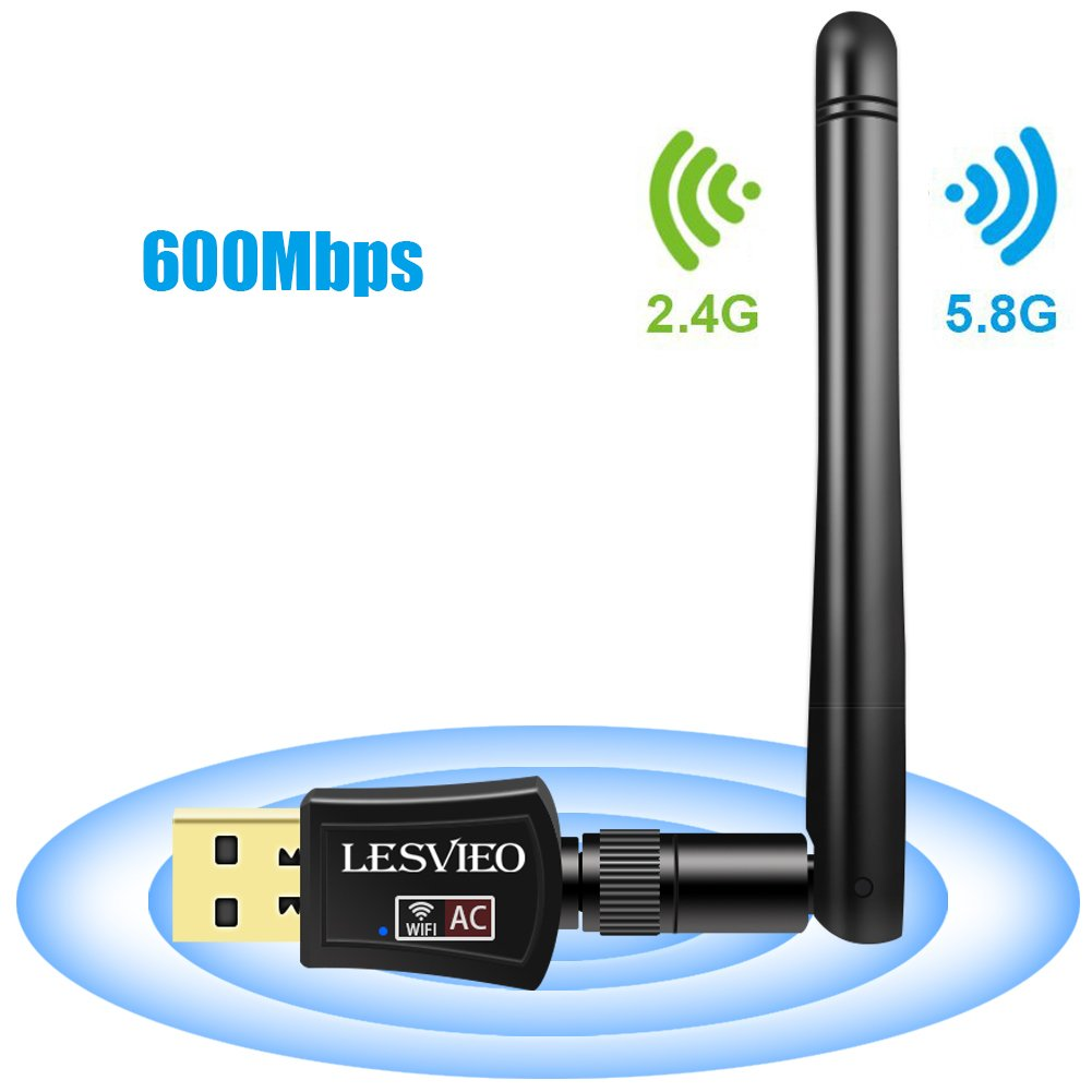 LESVIEO Wifi Adapter   USB Wireless Network adapter 600Mbps Dual band USB Wifi Antenna(2.4G/150Mbps+5G/433Mbps) for Desktop,Laptop, pc