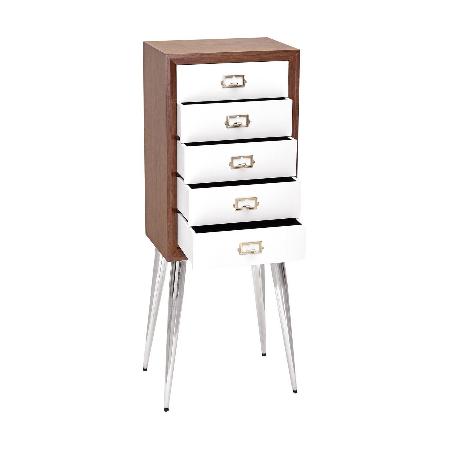 Major-Q 9097211 36'' H Contemporary Style Rectangular Cabinet Frame White Dark Mahogany Finish Metal Tapered Legs Jewelry Armoire