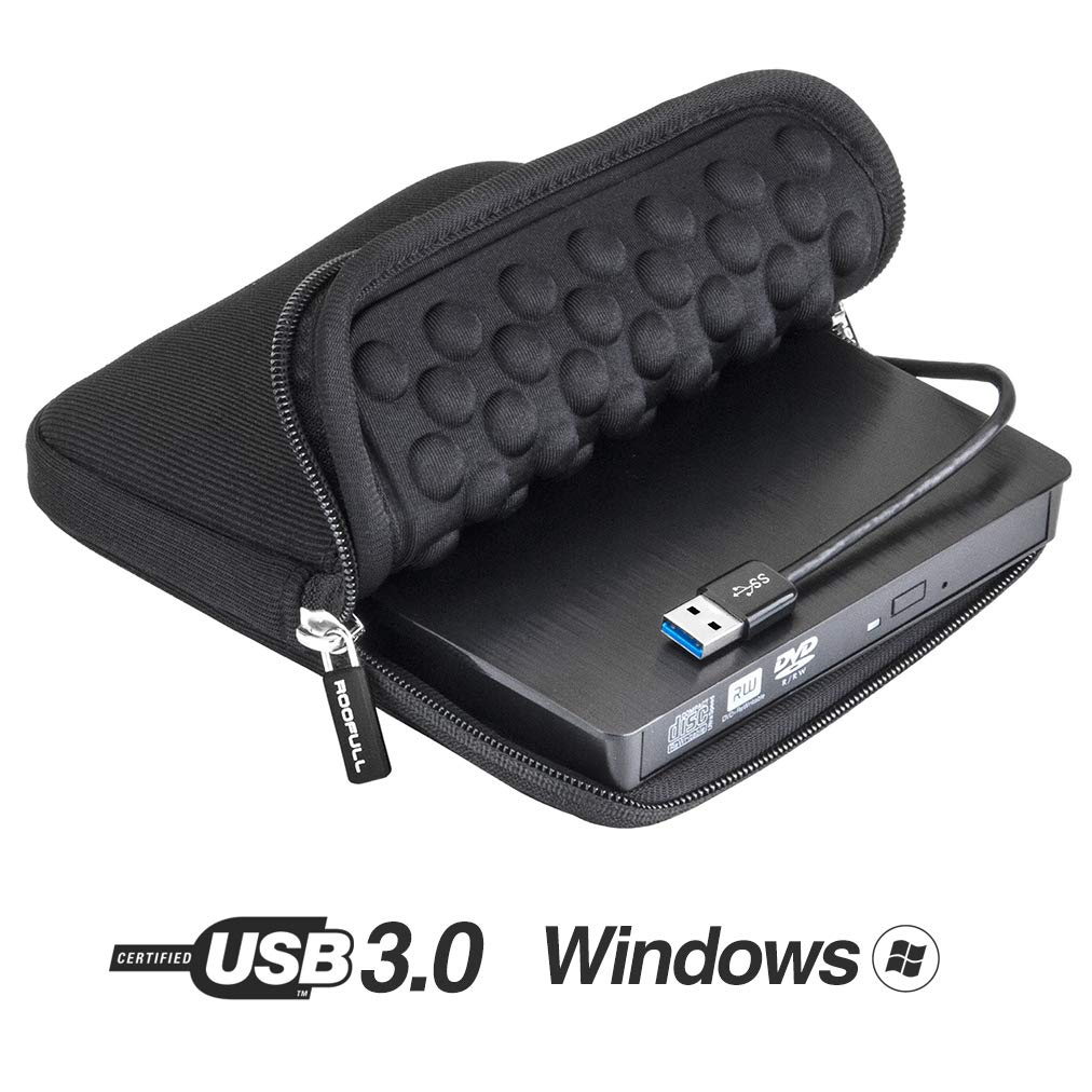 ROOFULL USB 3.0 External DVD Drive with Protective Storage Carrying Case Bag, Portable CD DVD +/-RW Drive Burner, Compatible for Windows 10/8 / 7 Laptop Computer PC of HP Dell LG Asus Acer LG Lenovo