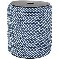 Cofan 08101025A Cuerda trenzada helicoidal, Blanco y azul, 6 mm x 100 m