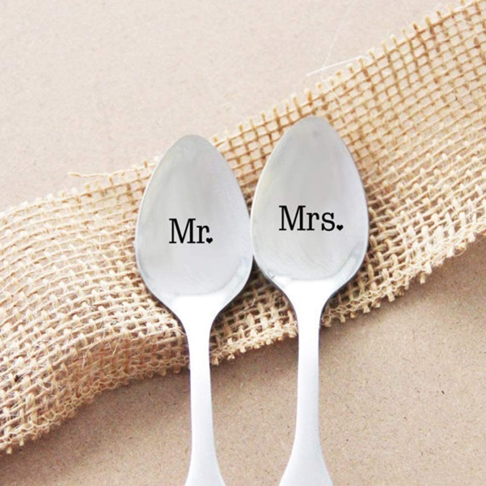 Maserfaliw Couple Coffee Spoon Stainless Steel 1Pc Fashion Mr Mrs Couple Coffee Long Handle Dinner Tableware Cutlery Gift Mrs.