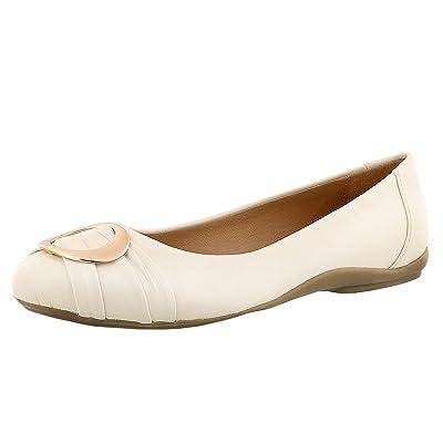 SoftMoc Women's Emily 2 Buckle Ballerina Flat Cream 8 M US