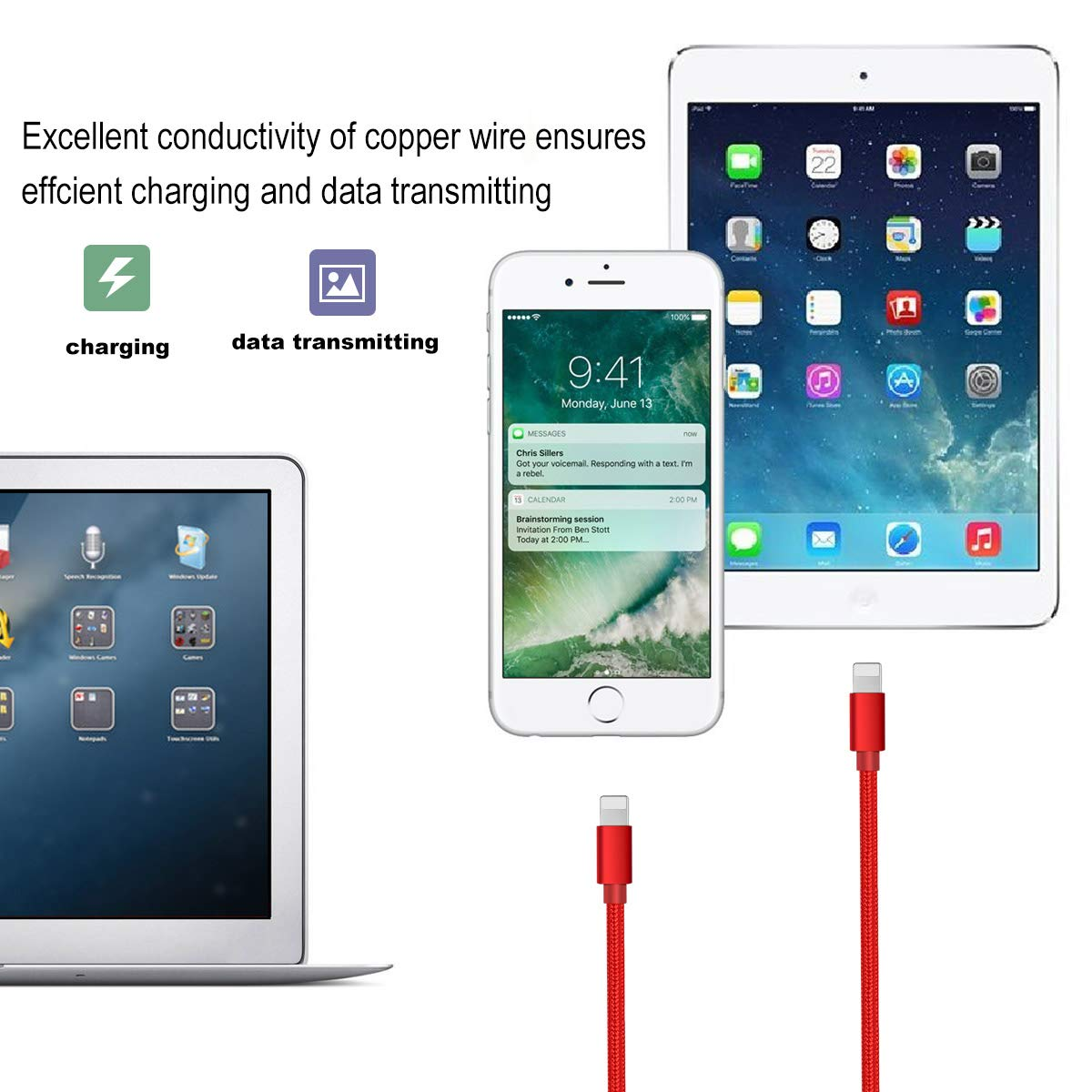 Phone Charger -3PACK 5FT Nylon Braided Charging Cable Cord USB Charger Cable High Speed Connector Data Sync Transfer Cord Compatible with Phone XS MAX XR X 8 7 plus 6s 6 Plus SE 5S 5C 5 Red