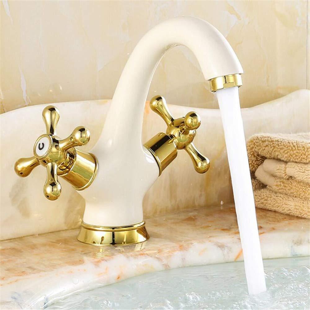 Cobre antiguo estilo europeo al horno de oro lacado blanco lavabo bañ o de agua frí a y caliente cuenca art cuenca retro faucet nbjhbihbyk