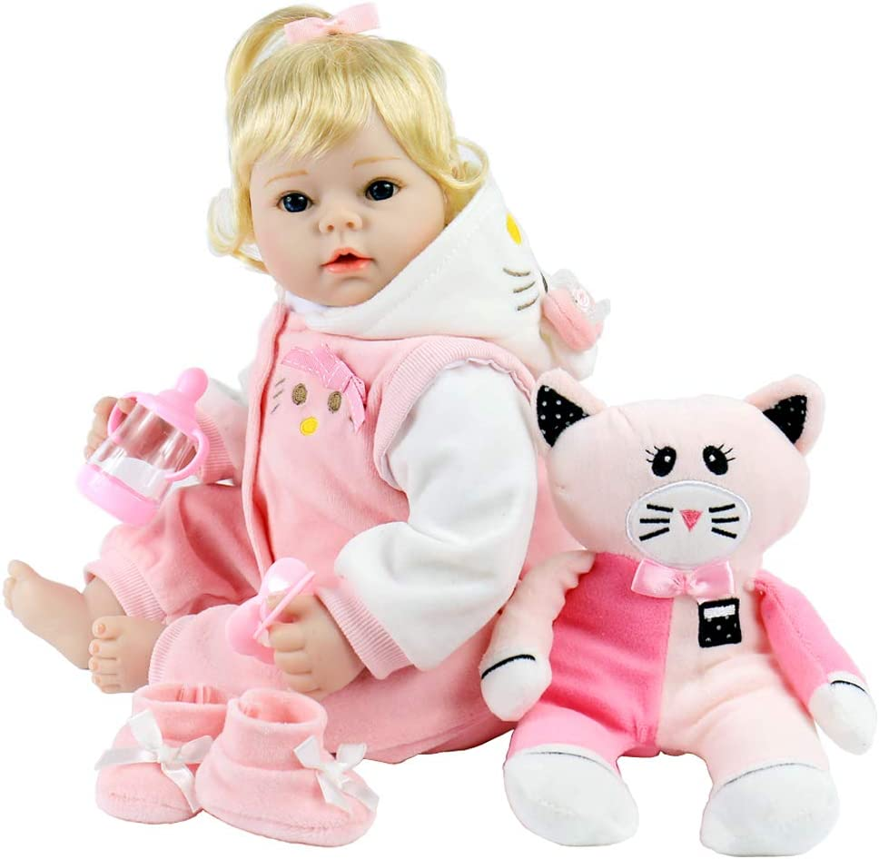 Aori Lifelike Realistic Reborn Baby Dolls 22 Inch Weighted Reborn Girl Doll with Pink Clothes and Pigget Toy Accessories Best Birthday Set for Girls Age 3