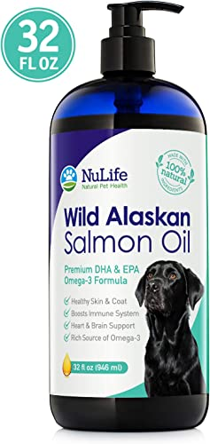 Wild Alaskan Salmon Oil for Dogs, Omega 3 Fish Oil Liquid, Skin and Coat Supplement for Shedding, Dry Itchy Skin, Allergies, Immune Heart Health, All Natural EPA DHA Fatty Acids, 32 oz Pump Bottle